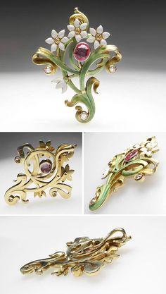 Art Nouveau Flower Enamel Pink Sapphire & Diamond Pendant Solid 14K Gold