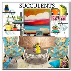..so Succulent by addicted2design on Polyvore featuring polyvore interior interiors interior design home home decor interior decorating Noir Andrew Martin Skyline CB2 Wallter Zuo Dot & Bo Mary Johnston