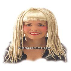 Tu mejor peluca rastas rubia flequillo mujer pr 8607300, será el complemento perfecto para tus disfraces. Darás la nota de color en  fiestas de disfraces de piratas y corsarios. compra tu peluca barata.