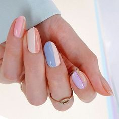 8 Amazing Pastel Nail Colors Acrylic Designs Only for you : Have a look! If you are looking for a lovely nail design in pastel nail color with acrylic designs, you may give an eye to the collection we have got over here. Cute Nails, Pretty Nails, Two Tone Nails, Two Color Nails, Color Block Nails, Milky Nails, Bright Summer Nails, Luxury Nails, Pastel Nails