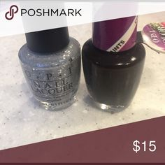 2 opi nail polish colors Purple perspective ( dark purple is brand new) by the light of the moon (silver only used once ) Makeup