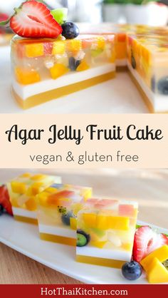 Agar Jelly Fruit Cake เคกวนผลไม This beautiful no bake dessert is light healthy filled with fresh fruitperfect for the summer. Agar jelly is also vegan friendly! Source by hotthaikitchen Jelly Desserts, Healthy Fruit Desserts, Jelly Recipes, Asian Desserts, Fruit Snacks, Healthy Fruits, No Bake Desserts, Baking Desserts, Party Desserts