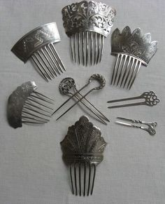 Beautiful collection of antique silver hair combs  (SMP Silver Salon Forums)