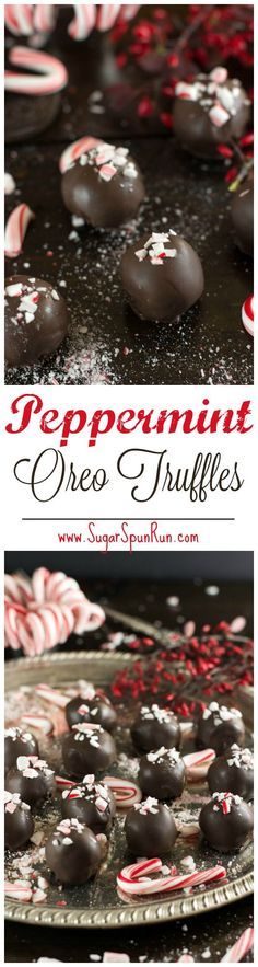 4-ingredient peppermint oreo truffles, would make a great Christmas gift -- http://www.SugarSpunRun.com