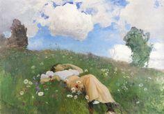 Eero Järnefelt - Saimi kedolla, Saimi in the Meadow - Eero Järnefelt Scandinavian Paintings, Art Database, Vincent Van Gogh, Oeuvre D'art, Les Oeuvres, Art History, Scenery, Images, Photos