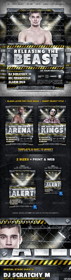 Industrial Flyer // 2 Sizes  #GraphicRiver               event announcement poster & flyer graphic design