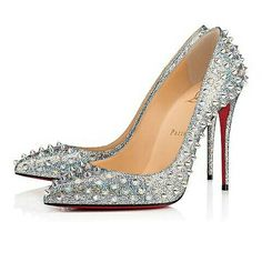 fc57a4d69c61 Christian Louboutin s silver mica nappa leather pointy-toe Follies Spikes  Louboutin Online