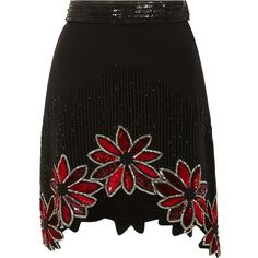 Rodarte Black Hand Beaded Floral A-Line Skirt ($2,760) ❤ liked on Polyvore featuring skirts, mini skirts, black mini skirt, high waisted a line skirt, embellished mini skirt, silk mini skirt and high waisted skirts