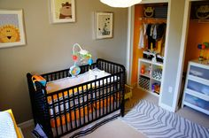 Tip: Looking for a fun, surprising pop of color in your nursery? Paint the closet a bright color! #nursery #nurserydecor