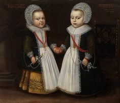 tweeling meisje en jongen - voor 1900 droegen peuters van beide geslachten jurken, rond de leeftijd van vier jaar kregen jongens hun eerste broek  Anonymous, Portrait of the two-year-old twins Gerdrugt and Conradus Kuver, 1630 - Private Collection Belgium