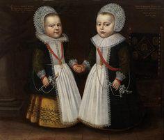 tweeling meisje en jongen - voor 1900 droegen peuters van beide geslachten jurken, rond de leeftijd van vier jaar kregen jongens hun eerste broek  Anonymous, Portrait of the two-year-old twins Gerdrugt and Conradus Kuver, 1630 - Private Collection Belgium