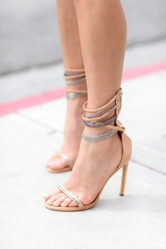 love these nude and metallic pumps
