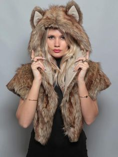Coyotes are clever animals who work best when they're in a pinch. Those with the Coyote's spirit tend to be the life of the party, bringing everyone together with their quick wit and disarming charm.The only Original SpiritHood®, because everyone loves authenticity10% of net profits donated to help endangered species.100% plush faux fur (100% acrylic), why look anything but amazing?Custom logo button to keep your hood on while extreme adventuring.Hand wash cold and air dry onlyOne size fits…