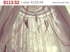 - Made To Order - Boho bed canopy with laces stripes and feathers in natural pastel shades (ivory, white, beige) Handmade of bamboo rods hoop, laces stripes, feathers and crochet doily May be used as baby crib crown, or also as very boho bedroom decor Size: hoop part approx. 18'' laces leght approx. 70'' 100% handmade of organic and eco-conscious materials << Pls, note, sinse its totally handmade and OOAK ur order may look different then ...