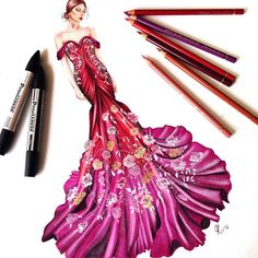 Repost from ・・・ Today I designed this gown, I was inspired by all the beautiful roses and the gradient sunset sky that I saw… Paper Fashion, Fashion Art, Fashion Beauty, Fashion Design Drawings, Fashion Sketches, Fashion Illustration Dresses, Fashion Illustrations, Illustration Mode, Dress Sketches