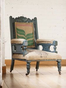 The Reupholstered Chair in Coffee Sacks Burlap Coffee Bags, Coffee Sacks, Burlap Bags, Colorful Chairs, Cool Chairs, Coffee Chairs, Green Armchair, Upholstered Arm Chair, Art Furniture