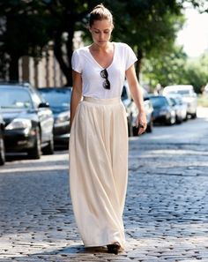 long skirt + tee. Casual. Comfy. Sexy.