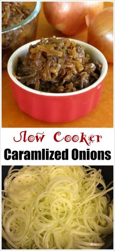 Slow Cooker Caramelized Onions - a splash of balsamic vinegar makes these spectacular! Easy recipe with tips to freeze! #SundaySupper
