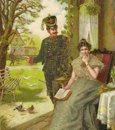 Antique German Postcard GRUSS  Soldier and Lady by TheOldBarnDoor
