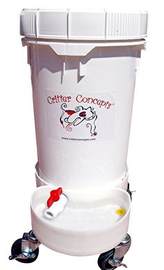 A 6.5 gallon automatic dog water dispenser that is easy to use, easy to clean and rolls on 3 inch locking wheels. Daycare tested and approved, dogs cannot destroy this.