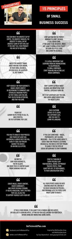 15 Principles of Small Business Success from Gary Vaynerchuk – Infographic by www.intnetworkplus.com