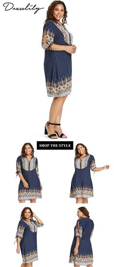 77db7842050 Free shipping over  39. Plus Size Baroque V Neck Dress.  dresslily   casualdress