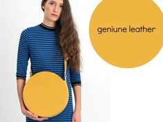 Yellow Circle Crossbody Bag - Round Leather Bag Yellow Shoulder Bag Large Cross Body Purse #yellow #leather #tote #bag #fashion #style #gift #accessories Leather Handbags, Leather Bag, Yellow Shoulder Bags, Crossbody Bag, Tote Bag, Yellow Leather, Large Bags, Leather Fashion, Fashion Handbags