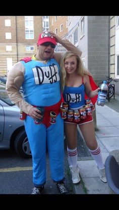 Fancy dress, duff man and duff girl the Simpsons dress up cos play Blue Costumes, Carnival Costumes, Diy Costumes, Cosplay Costumes, Halloween Costumes, Halloween 2020, Halloween Projects, Halloween Diy, Duffman Costume