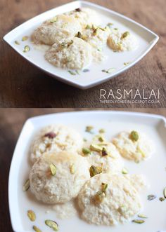 Rasmalai, a popular Indian dessert by Abida t The Red Lychee. Soft and fluffy dumplings served in a sweet and slightly thick milk sauce and garnished with pistachio. A classic Bengali sweet treat.