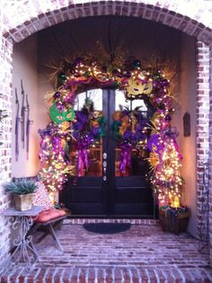 Mardi Gras Door  (In Louisiana... you take down the Christmas decorations and put up the Mardi Gras decorations!!)