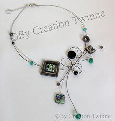 collar negro verde esmeralda verde albalone collar