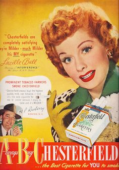 Ad Chesterfield Lucille Ball 1949 - Photo by: Sally Edelstein