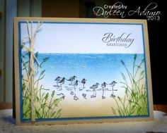 "By Darleen Adamo. Uses Stampin' Up ""Wetlands"" set. Stippling and sponging with SU Bashful Blue, Marina Mist, Pacific Point, Old Olive, Crumb Cake, & Creamy Caramel."