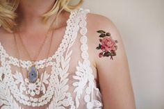 Small rose temporary tattoo / small temporary tattoo / floral temporary tattoo / flower temporary tattoo / vintage temporary tattoo / floral