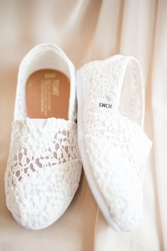 Wedding TOMS for the bride. A blush and ivory whimsical garden and rustic wedding with a touch of glamour featured on Bustld. Find more wedding inspiration here! Toms Wedding Shoes, Wedding Sneakers, Wedding Shoes Bride, Bride Shoes, Wedding Day, Rustic Wedding, Dream Wedding, Wedding Dress, Wedding Jitters