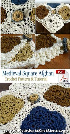 Medieval Square Afghan Crochet Pattern PDF | Etsy #crochet #crochetpattern #crochetgranny #crochettutorial #grannysquareafghan #lacyflowergranny #crochetroseafghan #crochetflowerafghan #lacycrochetgranny #meladoracrochet
