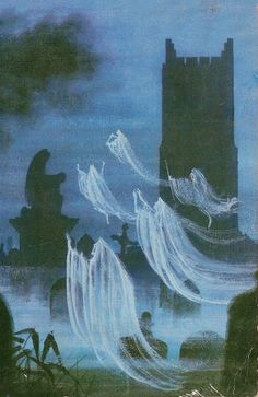 Cover Art : Ghosts, Spooks and Spectres : Charles Molin / Illustration : Philip Gough, 1967 † Halloween Horror, Halloween Art, Vintage Halloween, Spooky Scary, Creepy Art, Arte Horror, Horror Art, Horror Films, Yi King