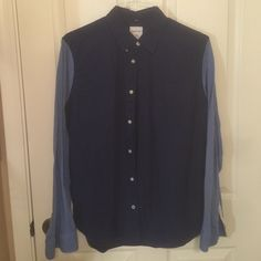 Modern Oxford Sleeves are cotton, shirt is typical dress shirt NAVY BLUE GAP Tops Button Down Shirts