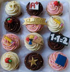 teacher end of term thankyou personalised cupcakes Vintage Theme Cupcake Gift Box for Sabiras Birthday Teacher Cupcakes, School Cupcakes, School Cake, Thank You Cupcakes, Thank You Cake, Cupcake Gift, Cupcake Cookies, Cupcake Toppers, Themed Cupcakes