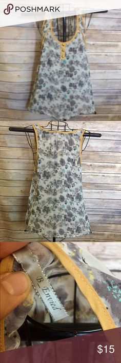 Yellow trim tank Pretty white sheer floral print with gray,lavender & blue , trimmed in yellow B-envied Tops Tank Tops