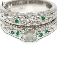 14k White Gold Unique Engagement rings, Diamond Wedding set, Romantic one of a kind proposal rings, emerald rings, OOAK - Wedding and engagement rings (*Amazon Partner-Link)