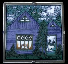 HELJÄ LIUKKO-SUNDSTRÖM, Wall Plate BLUE HOUSE OF HAPPINESS. *** Birthday 15 June (1938) *** http://fi.wikipedia.org/wiki/Helj%C3%A4_Liukko-Sundstr%C3%B6m