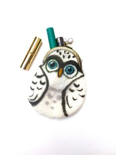 Snowy Owl Hand felted purse for Iphone make up or by sublimecolors, $54.99