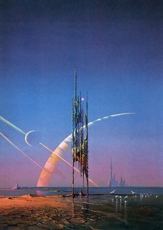 Landscapes with strange ruins are a favorite subject of British illustrator Bruce Pennington.