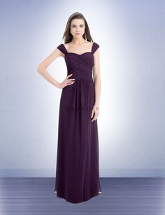 Bill Levkoff 733 Bridesmaid Dress. The pleated shoulder straps leads into the surplice ruching that shapes the curve-hugging bodice. A floor-length skirt with soft gathers provides this gown with a wonderful, finishing touch.
