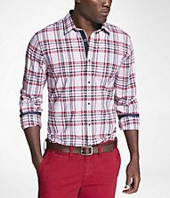 PLAID FITTED CONTRASTING DETAIL SHIRT