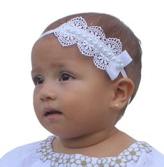 Baptism Headpiece White Headband Lace Headband by AllBabyGirls Flower Girl Headbands, Newborn Headbands, Elastic Headbands, Headband Baby, Crochet Headbands, Christening Headband, Baby Images, White Headband, Ribbon Bows