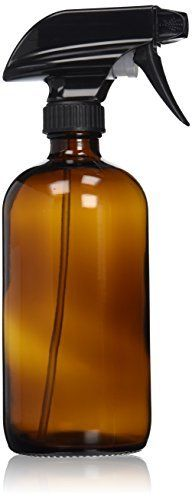 Empty Amber Glass Spray Bottle - Large 16 oz Refillable Container is Great for Essential Oils, Cleaning Products, Homemade Cleaners, Aromatherapy, Organic Beauty Treatments or Cooking in the Kitchen - Durable Black Trigger Sprayer w/ Mist and Stream Nozzle Settings, http://www.amazon.com/dp/B00MU7R52M/ref=cm_sw_r_pi_awdm_x_mEshybKT34FFQ