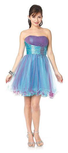 Strapless Purple Short Homecoming Gown Tulle Skirt Satin Waist Rhinestone Beading