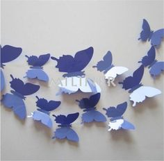 12pcs - 3D Butterfly Wall Decorations Home Wall Sticker Decorations 3D Art Decals Decoration Cute Deco - PVC
